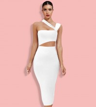 White Cut Out Asymmetrical Over Knee Sleeveless Strappy Bandage Dress HL8363-White