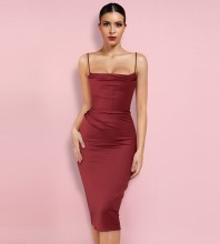 Red Backless Frill Over Knee Sleeveless Strappy Bodycon Dress HL8377-Red
