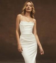 White Backless Plain Midi Sleeveless Strappy Bodycon Dress HL8377-White