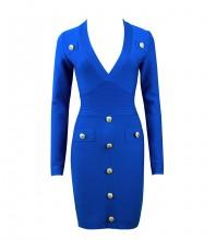 Blue Metal Ornamental Buckle Plain Mini Long Sleeve V Neck Bandage Dress HL8392-Blue