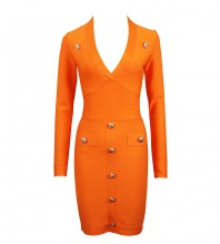 Orange Distinctive Metal Ornamental Buckle Mini Long Sleeve V Neck Bandage Dress HL8392-Orange