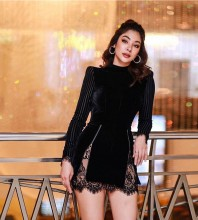 Black High Neck Long Sleeve Mini Lace Backless Bandage Dress HL8393-Black