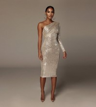 Silver Sequined Asymmetrical Over Knee Long Sleeve One Shoulder Bodycon Dress HL8394-Silver