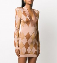 Nude Zipper Plaid Mini Long Sleeve V Neck Bandage Dress HL8403-Nude