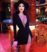 Black Mesh Rhinestone Mini Long Sleeve Round Neck Bandage Dress HL8411-Black