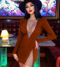 Brown Mesh Rhinestone Mini Long Sleeve Round Neck Bandage Dress HL8411-Brown