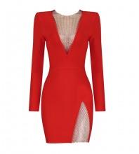 Red Mesh Rhinestone Mini Long Sleeve Round Neck Bandage Dress HL8411-Red