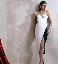 White Slit Splicing Midi Sleeveless Strapless Bandage Dress HL8419-White