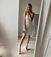 White Distinctive Tassels Mini Sleeveless Round Neck Bandage Dress HL8425-White