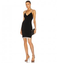 Black Backless Tassels Mini Sleeveless Strappy Bandage Dress HL8430-Black
