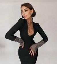 Black Mesh Rhinestone Midi Long Sleeve High Neck Bandage Dress HL8443-Black