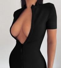 Black Plain Zipper Mini Short Sleeve High Neck Bandage Dress HL8464-Black