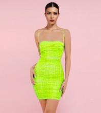 Fluorescent Green Backless Wrinkled Mini Sleeveless Strappy Bodycon Dress HL8488-Fluorescent-Green