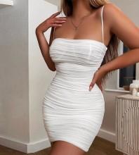White Backless Wrinkled Mini Sleeveless Strappy Bodycon Dress HL8488-White