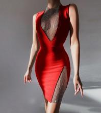 Red Mesh Rhinestone Mini Sleeveless Round Neck Bandage Dress HL8511-Red