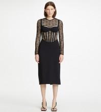 Black Backless Mesh Midi Long Sleeve Round Neck Bandage Dress HL8558-Black