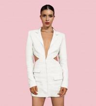 White Backless Cut Out Mini Long Sleeve V Neck Bodycon Dress HL8572-White
