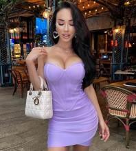 Purple Backless Striped Mini Sleeveless Strapless Bandage Dress HL8585-Purple