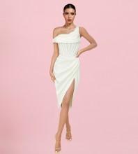 White Striped Asymmetrical Midi Short Sleeve One Shoulder Bodycon Dress HL9025-White
