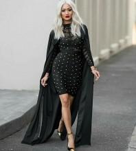 Round Neck Long Sleeve Mini Metal Studded Over Knee Length Black Perfect Bandage Dress With Sheer Mesh HN156-black