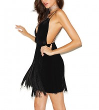Black Strapy Sleeveless Mini Tassels Back Vent Fashion Bandage Dress HQ225-Black