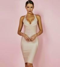 Nude Halter Sleeveless Mini Backless Party Bandage Dress HQ265-Nude
