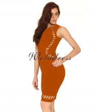 Party Round Neck Sleeveless Mini Orange Cut Out Bandage Dress HT0071-Orange HT0071-Orange