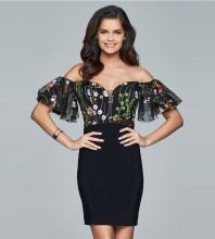 Black Off Shoulder Short Sleeve Mini Printing Lace Fashion Bandage Dress HT0310-Black