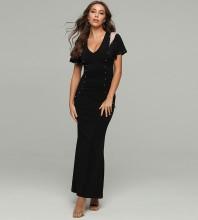 Black Metal Ornamental Buckle Maxi Short Sleeve V Neck Bodycon Dress HT2074-Black