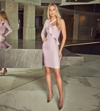 Pink One Shoulder Long Sleeve Mini Frill Bandage Dress HT2124-Pink