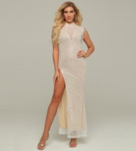White Sequined Slit Maxi Sleeveless High Neck Bodycon Dress HT2190-White