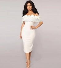 White Frill Over Knee Short Sleeve Off Shoulder Bandage Dress HT2192-White