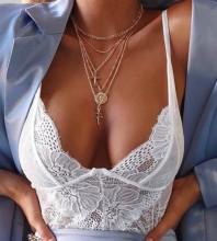 White Embroidered Mini Sleeveless Strappy Bodycon Bodysuit HT2197-White