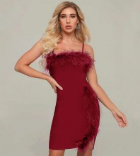 Red Frill Backless Mini Sleeveless Strappy Bandage Dress HT2198-Red