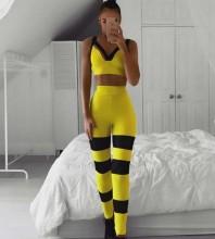 Yellow Striped Maxi Sleeveless Strappy Bandage Set HT2205-Yellow