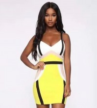 Yellow Striped Mini Sleeveless Strappy Bandage Dress HT2209-Yellow