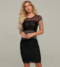 Black Mesh Tassels Mini Short Sleeve Round Neck Bodycon Dress HT2213-Black
