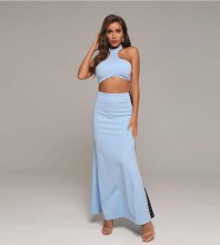 Halter Blue Sleeveless Backless Slit Bodycon Set HT2353-Blue