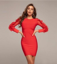 Round Neck Red Long Sleeve Mini Frill Plain Bandage Dress HT2354-Red