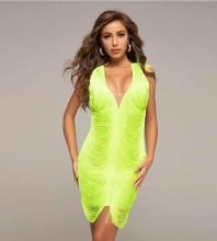Green Mesh Tassels Mini Sleeveless V Neck Bandage Dress HT2361-Green