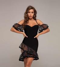 Black Backless Frill Mini Short Sleeve Strappy Bandage Dress HT2376-Black