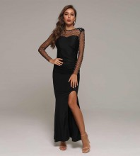 Black Slit Mesh Maxi Long Sleeve Round Neck Bodycon Dress HT2379-Black