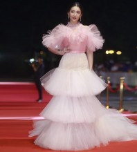 Pink Balloon Frill Maxi Short Sleeve High Neck Bodycon Dress HT2382-Pink