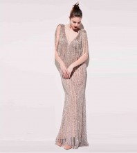 Silver Frill Tassels Maxi Sleeveless V Neck Bodycon Dress HT2401-Silver