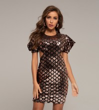 Black Pink Sequined Backless Mini Short Sleeve Round Neck Bodycon Dress HT2402-Black-Pink