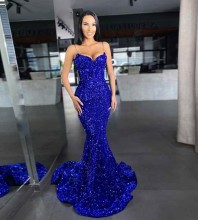 Blue Fishtail Sequined Maxi Sleeveless Strappy Bodycon Dress HT2409-Blue
