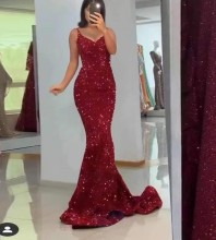 Red Sequined Fishtail Maxi Sleeveless Strappy Bodycon Dress HT2409-Red
