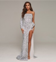 Silver Asymmetrical Sequined Maxi Long Sleeve Off Shoulder Bodycon Dress HT2414-Silver