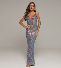 Purple Backless Sequined Maxi Sleeveless Strappy Bodycon Dress HT2421-Purple