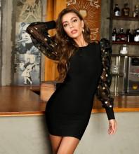 Black Distinctive Mesh Mini Long Sleeve Round Neck Bandage Dress HT2422-Black